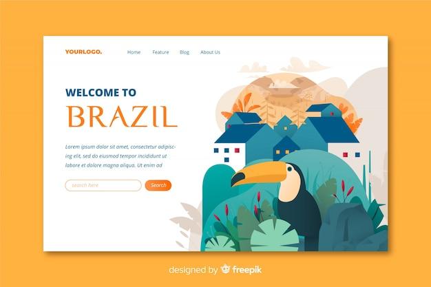 Plantilla de landing page de bienvenido a brasil