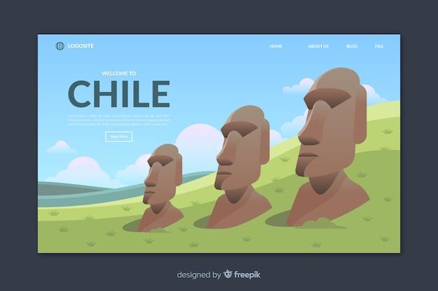 Plantilla de landing page de bienvenido a chile
