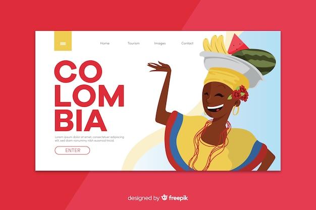 Plantilla de landing page de bienvenido a colombia