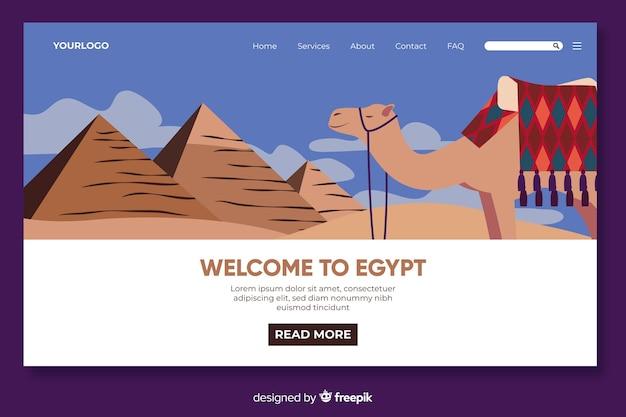 Plantilla de landing page de bienvenido a egipto