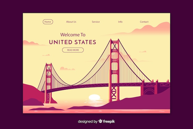 Plantilla de landing page de bienvenido a estados unidos