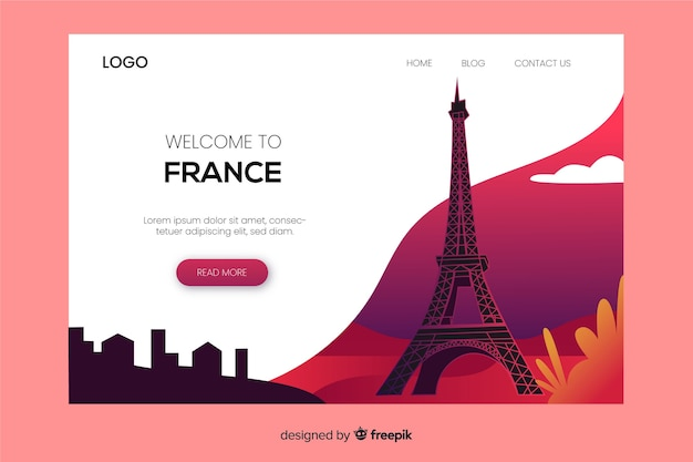 Plantilla de landing page de bienvenido a francia