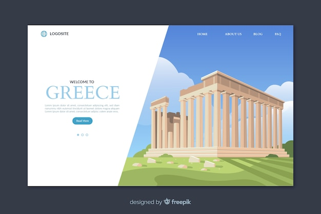 Plantilla de landing page de bienvenido a grecia