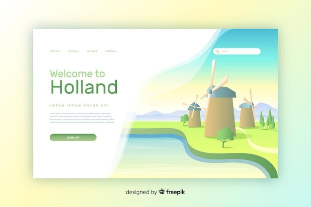 Plantilla de landing page de bienvenido a holanda