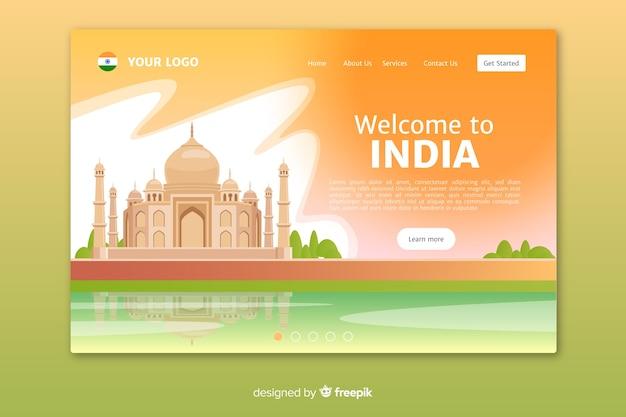 Plantilla de landing page de bienvenido a india