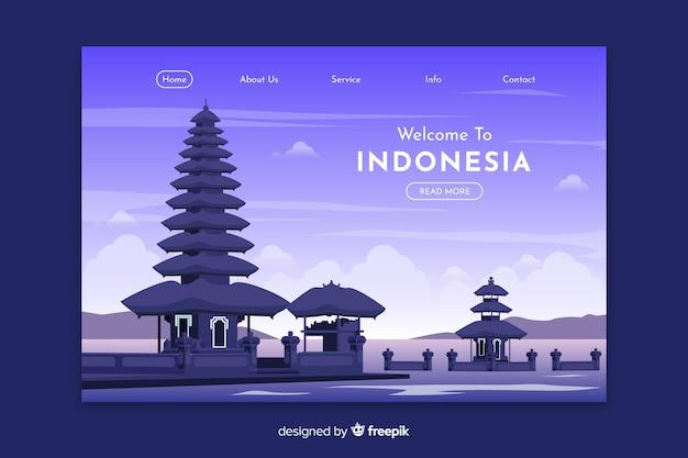 Plantilla de landing page de bienvenido a indonesia