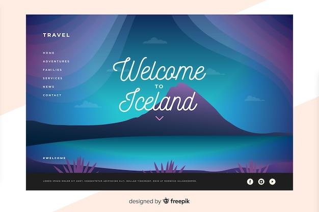 Plantilla de landing page de bienvenido a islandia