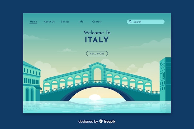 Plantilla de landing page de bienvenido a italia