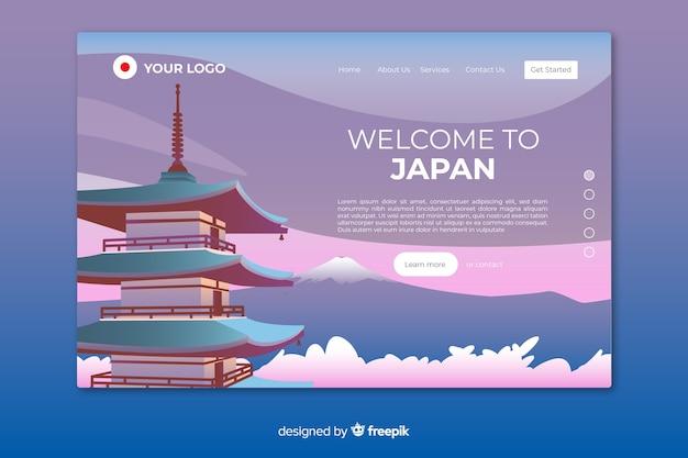 Plantilla de landing page de bienvenido a japón