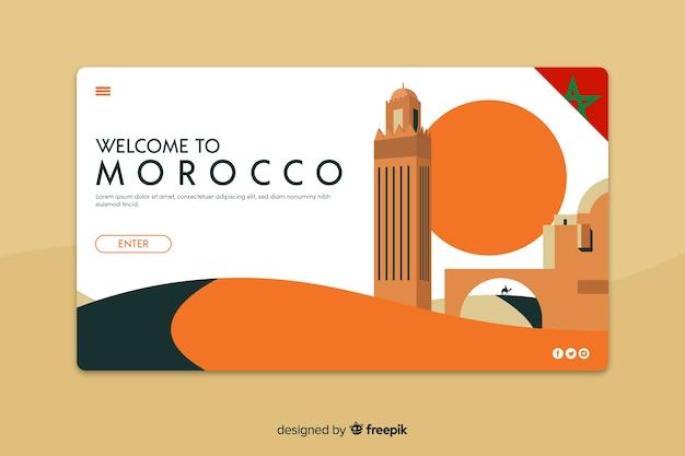 Plantilla de landing page de bienvenido a marruecos