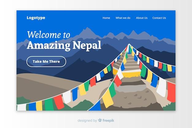 Plantilla de landing page de bienvenido a nepal