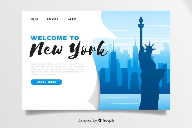 Plantilla de landing page de bienvenido a nueva york