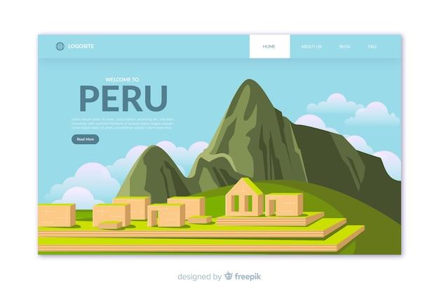 Plantilla de landing page de bienvenido a perú