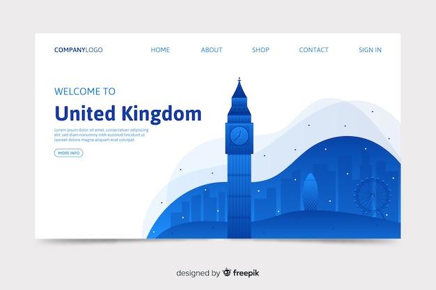 Plantilla de landing page de bienvenido a reino unido
