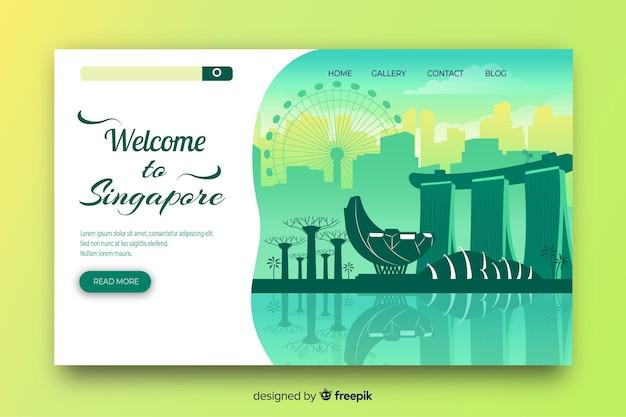 Plantilla de landing page de bienvenido a singapur