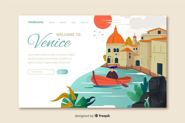 Plantilla de landing page de bienvenido a venecia