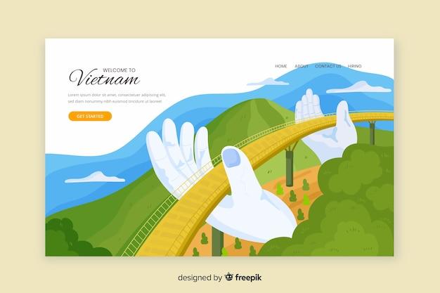 Plantilla de landing page de bienvenido a vietnam