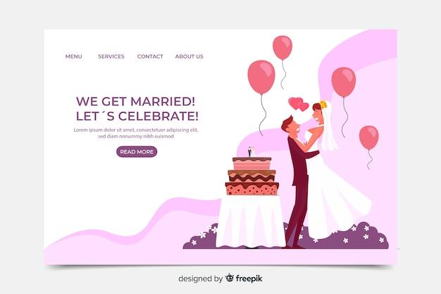 Plantilla de landing page de boda en diseño plano