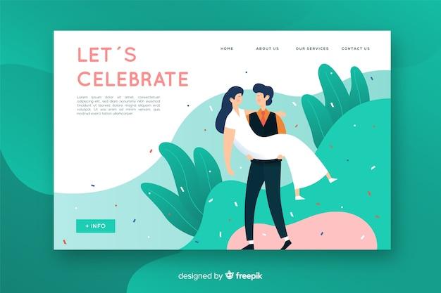 Plantilla de landing page de bodas