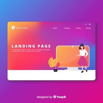 Plantilla de landing page colorida en estilo degradado