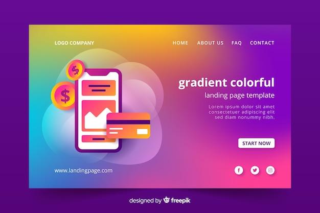 Plantilla de landing page colorido con aspecto degradado