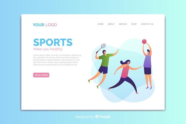 Plantilla de landing page de deporte en diseño plano