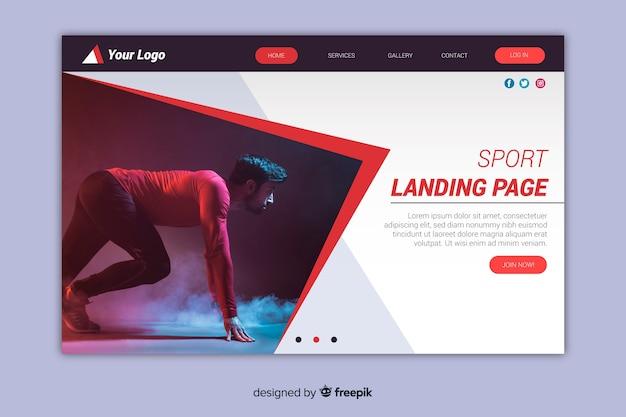 Plantilla de landing page de deporte con foto