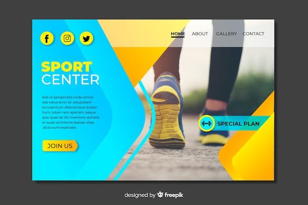 Plantilla de landing page de deporte con imagen