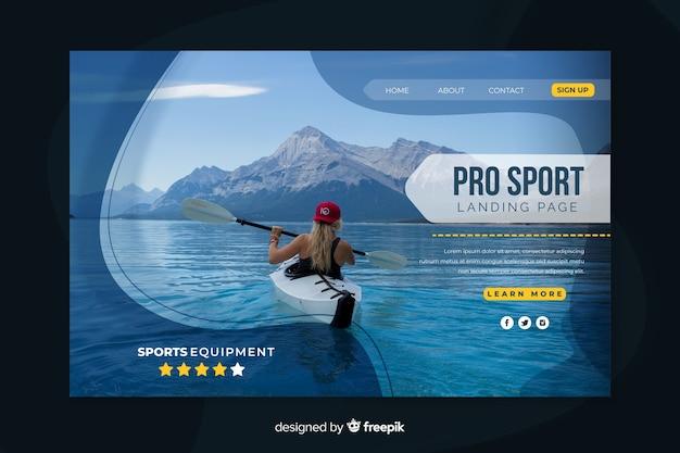 Plantilla de landing page de deportes con imagen