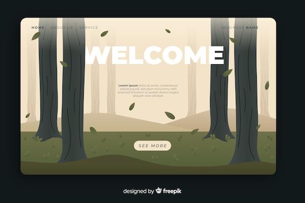 Plantilla de landing page dibujada de bienvenida