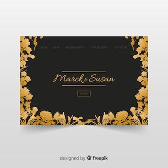 Plantilla de landing page dorada de boda
