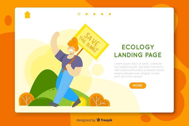 Plantilla de landing page de ecología dibujada a mano