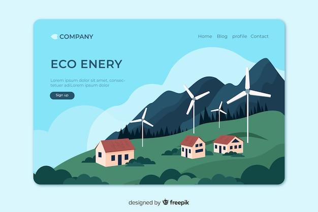 Plantilla de landing page de ecología en diseño plano