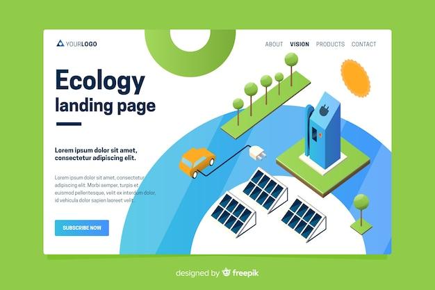 Plantilla de landing page de ecología en isométrico