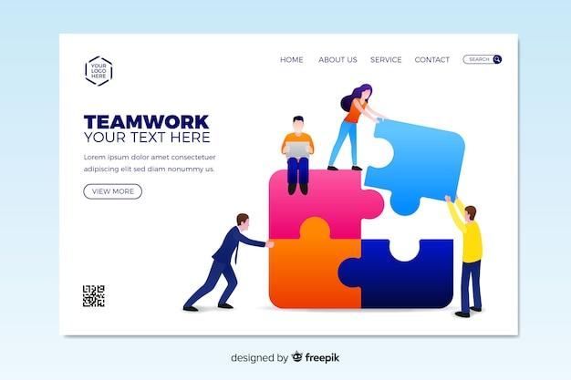 Plantilla de landing page de equipo de trabajo en diseño plano