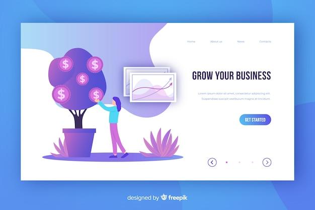 Plantilla de landing page de estrategia negocios