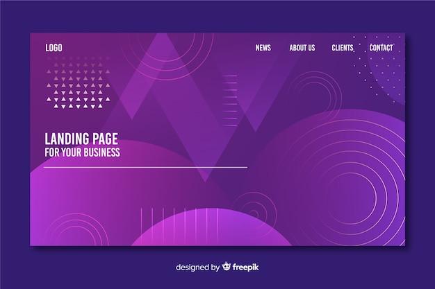 Plantilla de landing page de formas geométricas