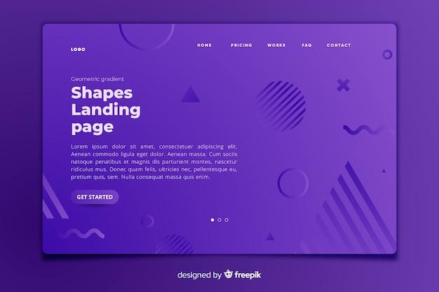 Plantilla de landing page con formas geométricas