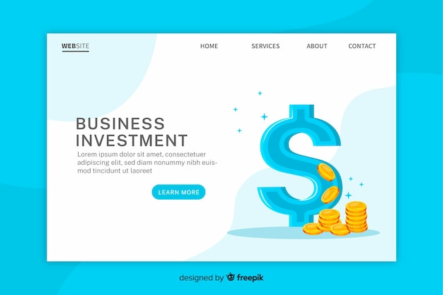 Plantilla de landing page de inversión de negocios