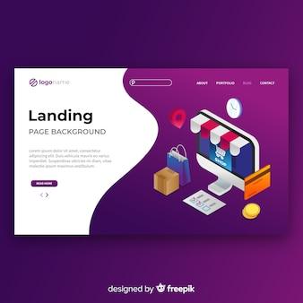 Plantilla de landing page isométrica de compras online
