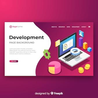 Plantilla de landing page isométrica de desarrollo