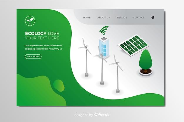 Plantilla de landing page isométrica de ecology