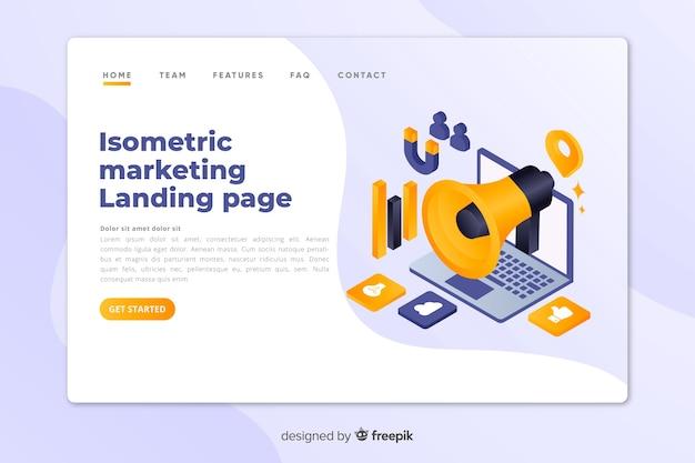 Plantilla de landing page isométrica de marketing