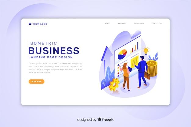 Plantilla de landing page isométrica de negocios
