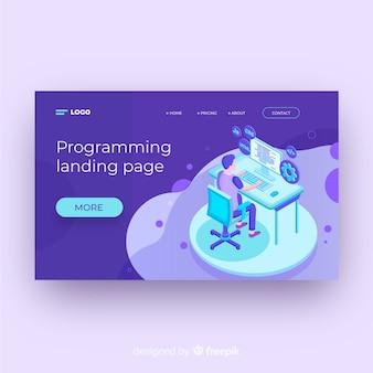 Plantilla de landing page isométrica de programación