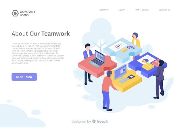 Plantilla de landing page isométrica de trabajo en equipo