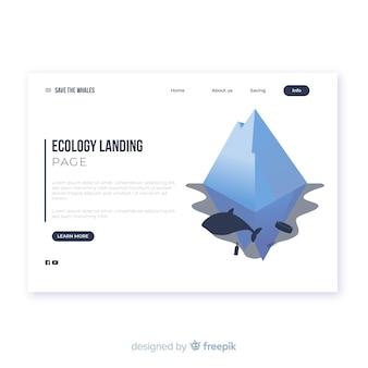Plantilla de landing page isométrico de ecología