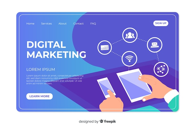 Plantilla de landing page de marketing digital