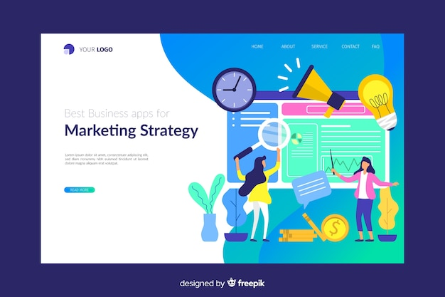 Plantilla de landing page de marketing digital