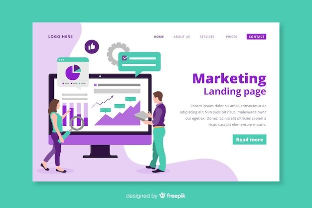 Plantilla de landing page de marketing en diseño plano